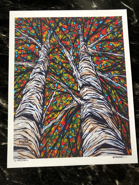 "Two Fall Birch Trees 11x14"" fine art giclee print by Tracy Levesque"