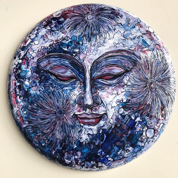 """The Woman in the Moon / Metta Moon 20"""" Round original acrylic painting by Tracy Levesque"""