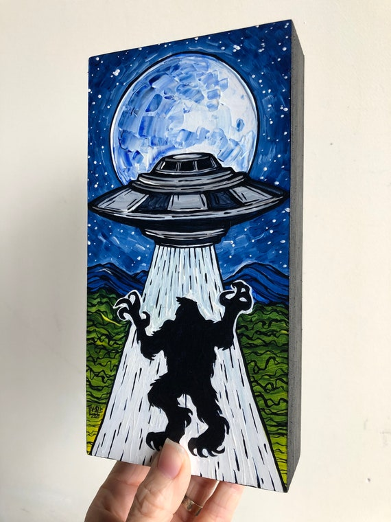"4x8"" Bigfoot Sasquatch Full Moon Alien UFO Abduction original acrylic painting by Tracy Levesque"