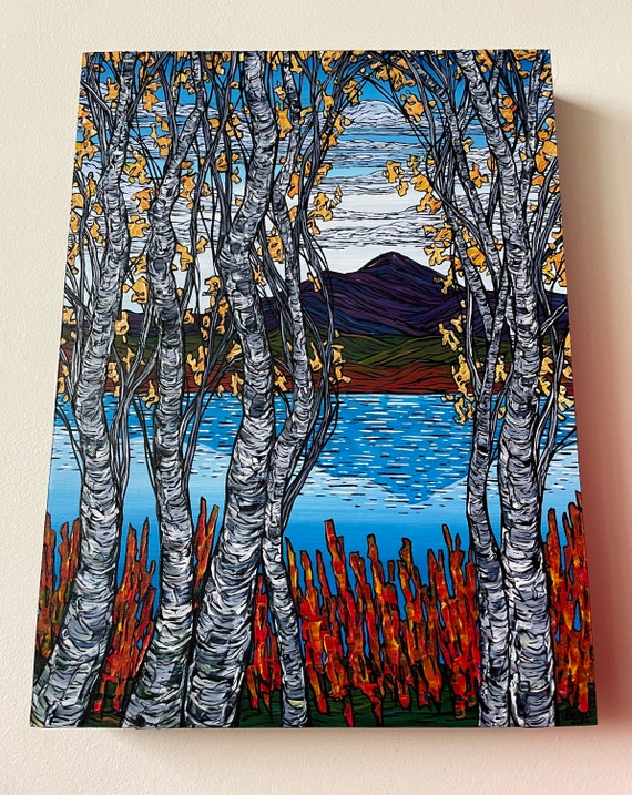 """12x16"""" Clouds Over Mount Chocorua New Hampshire White Mountains Birch Trees original acrylic painting by Tracy Levesque"""