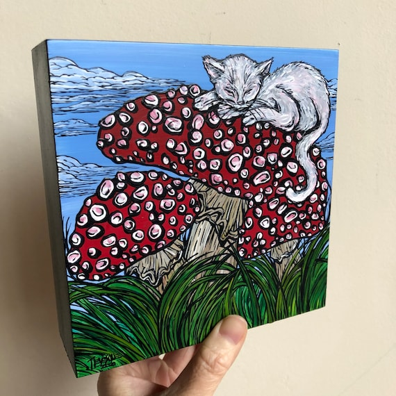 "6x6"" Sleeping White Cat on Magic Mushrooms original acrylic painting by Tracy Levesque"