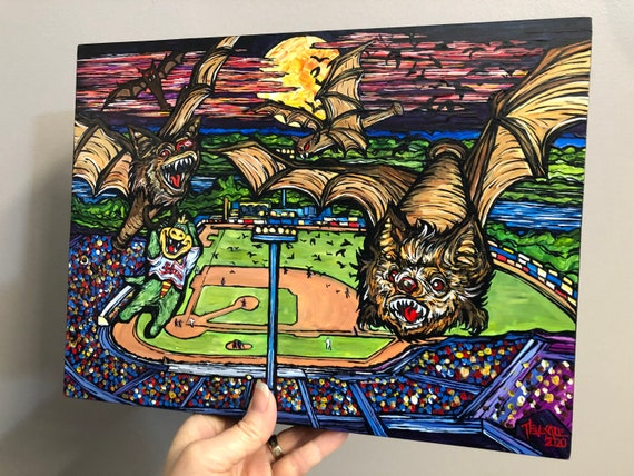 """Vampire Bats take a swing at LeLacheur Park Lowell Monsters 9x12"""" original acrylic painting by Tracy Levesque"""