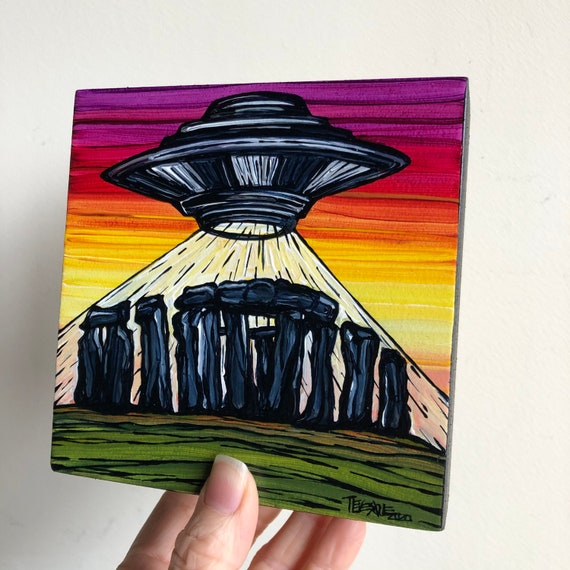 "5x5"" Summer Solstice Stonehenge UFO Alien Flying Saucer original acrylic painting by Tracy Levesque"