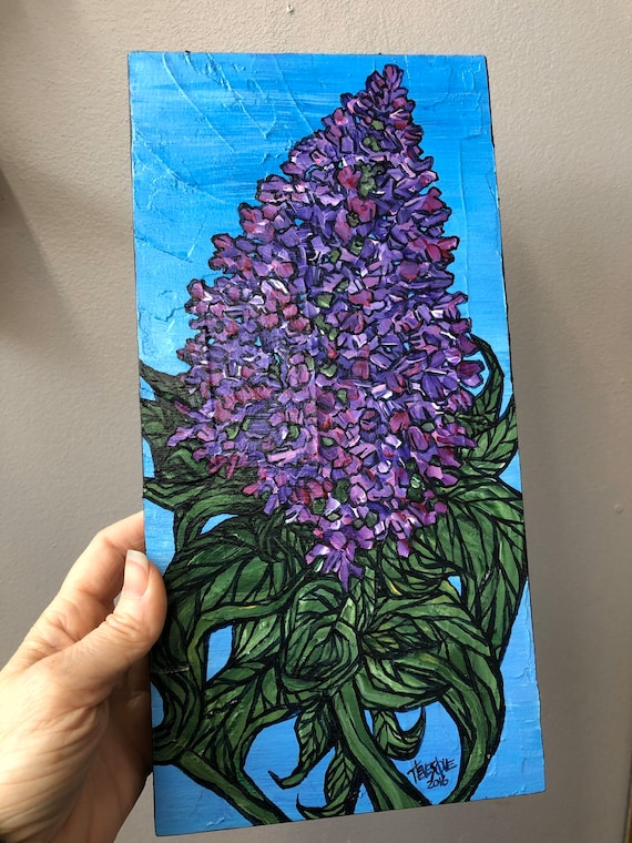 """6x12"""" Purple Lilac original acrylic painting by Tracy Levesque"""