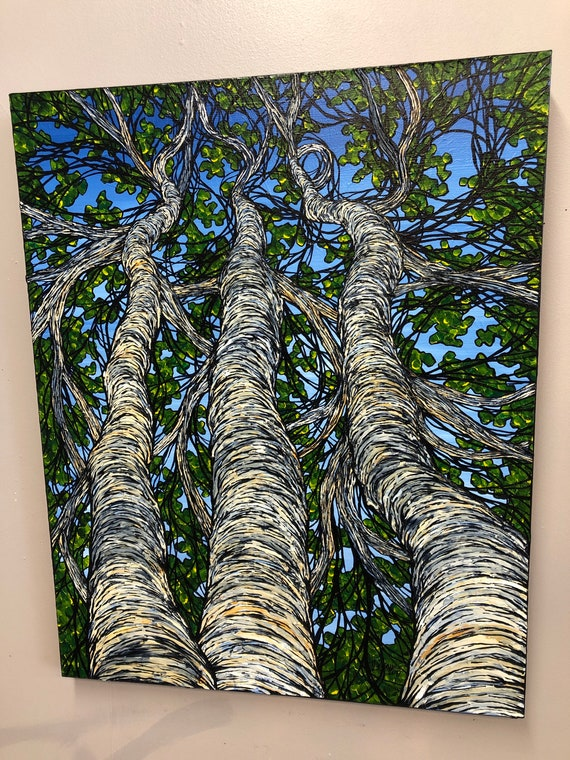 """Deep Green Birches 24x30"""" original textured acrylic painting by Tracy Levesque"""