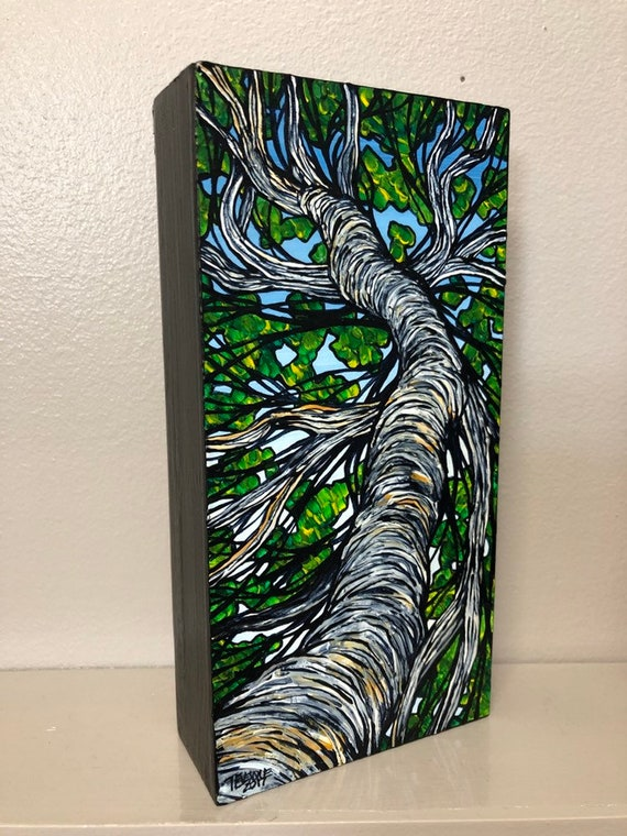 """Thin Twisting Tree 4x8"""" Original Acrylic Painting by Tracy Levesque"""