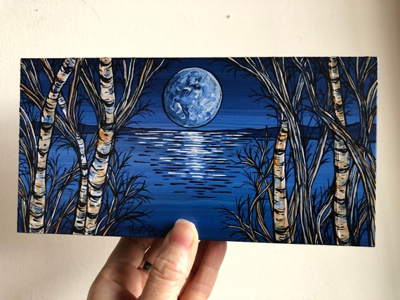 "4x8"" Midnight Blue Moon Birches original painting by Tracy Levesque"