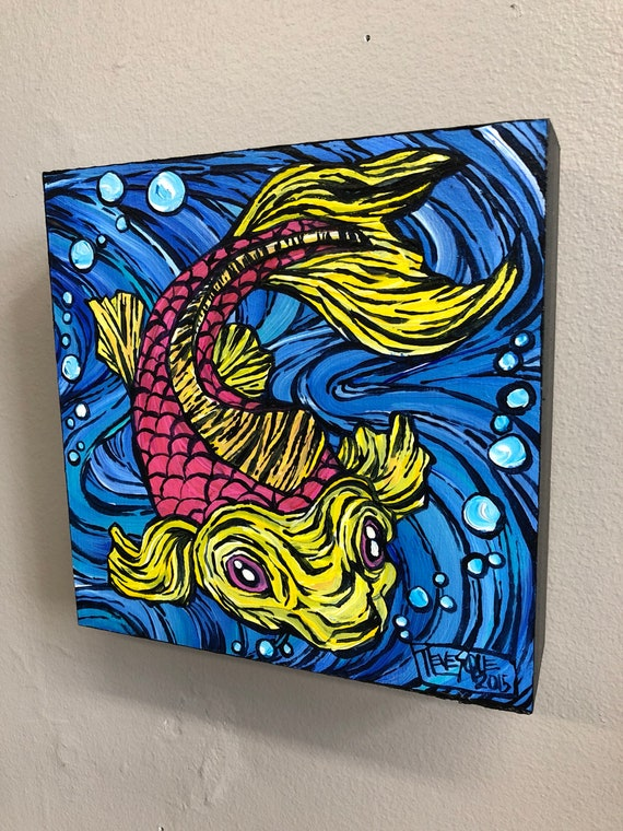 Pink and Yellow Koi Fish, original acrylic painting by Tracy Levesque