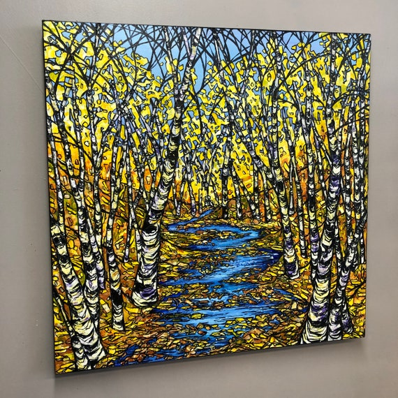 "30x30"" Illuminated Stream fall foliage forest scene original acrylic painting by Tracy Levesque"