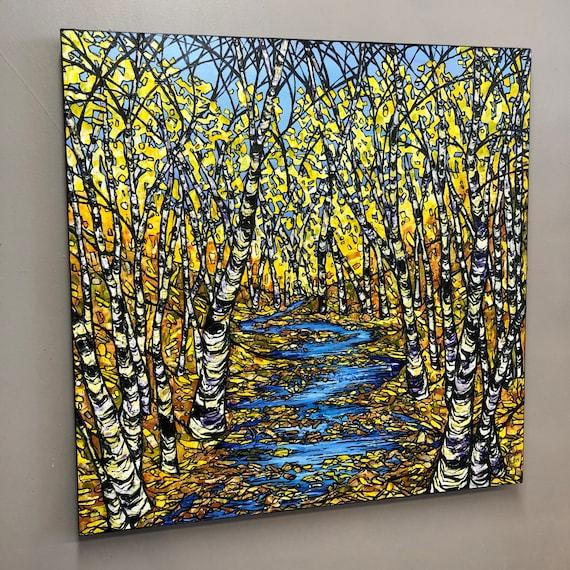 "30x30"" Illuminated Stream fall foliage forest scene original acrylic painting by Tracy Levesque"