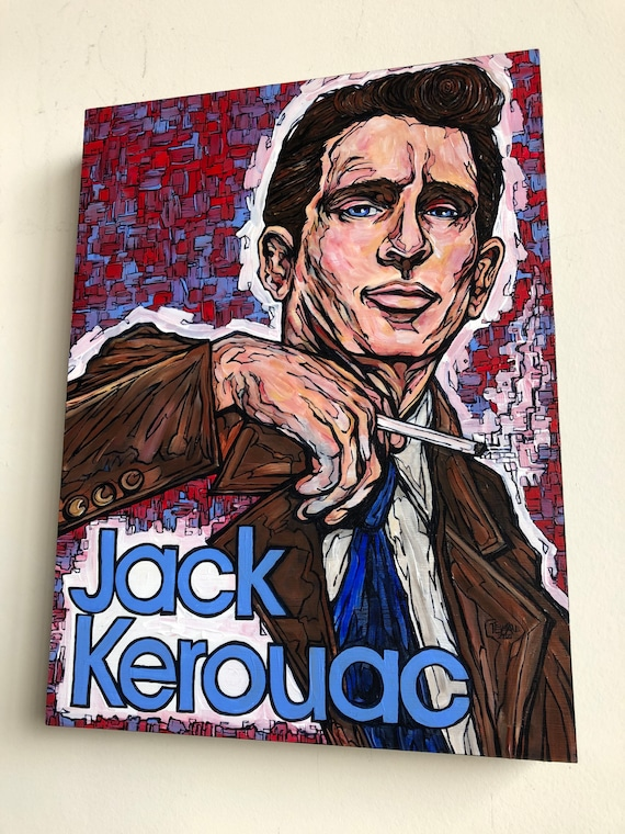 """12x16"""" Jack Kerouac Portrait of the Artist original acrylic painting by Tracy Levesque"""