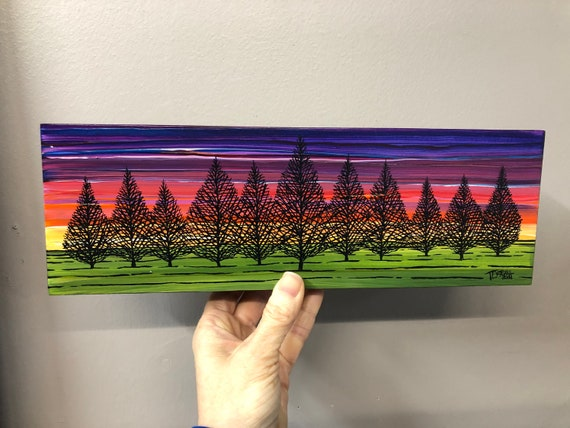 """4x12"""" Magical Forest Rainbow Sunset original painting by Tracy Levesque"""