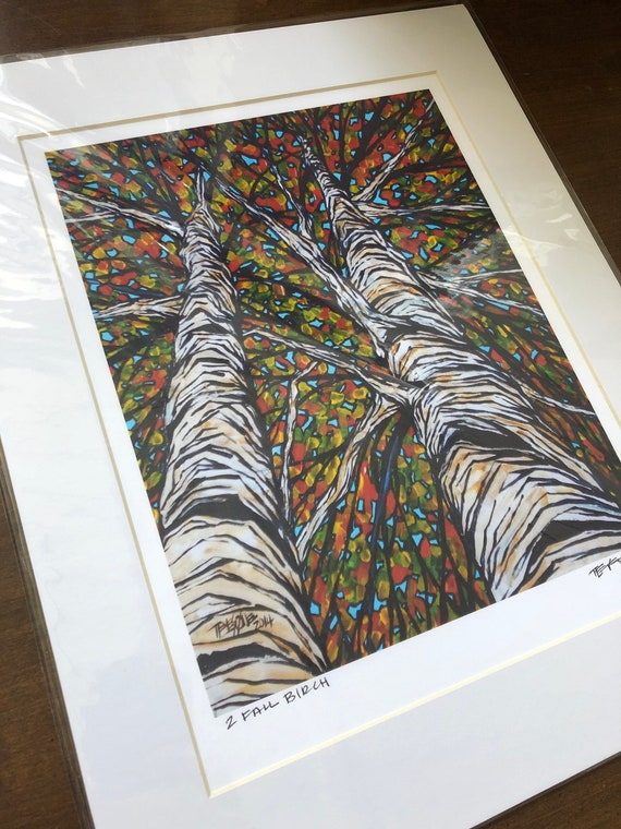 "11x14"" Matted Fall Birch Print by Tracy Levesque (print size is approximately 8x10"" inside 11x14"" mat)"