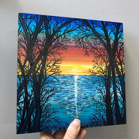 """8x8"""" Scenic Sunset original acrylic painting by Tracy Levesque"""