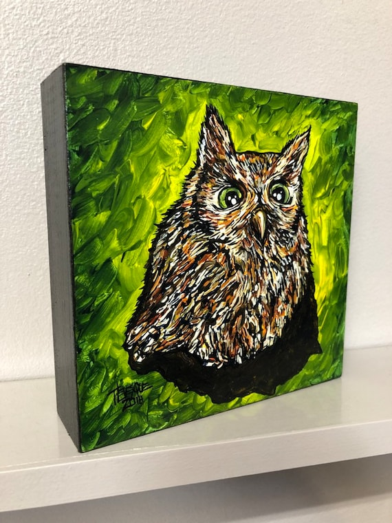"""Sweet Little Owl 6x6"""" original acrylic painting by Tracy Levesque"""