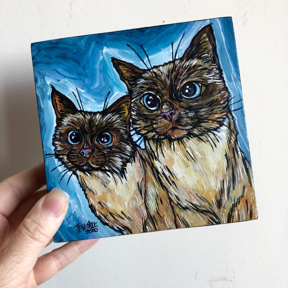 "5x5"" We are Siamese if You Please twin Siamese cat original acrylic painting by Tracy Levesque"