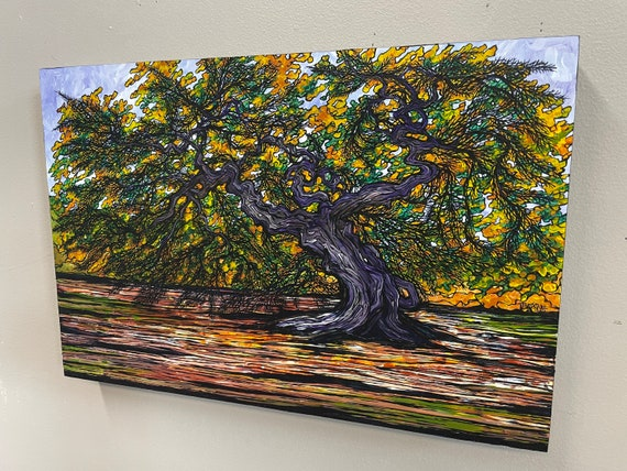 """12x18"""" Beech Tortuosa Tree Painting by Tracy Levesque"""
