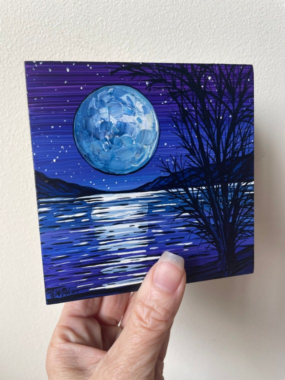 """4x4"""" Peaceful Blue Moon original acrylic painting by Tracy Levesque"""