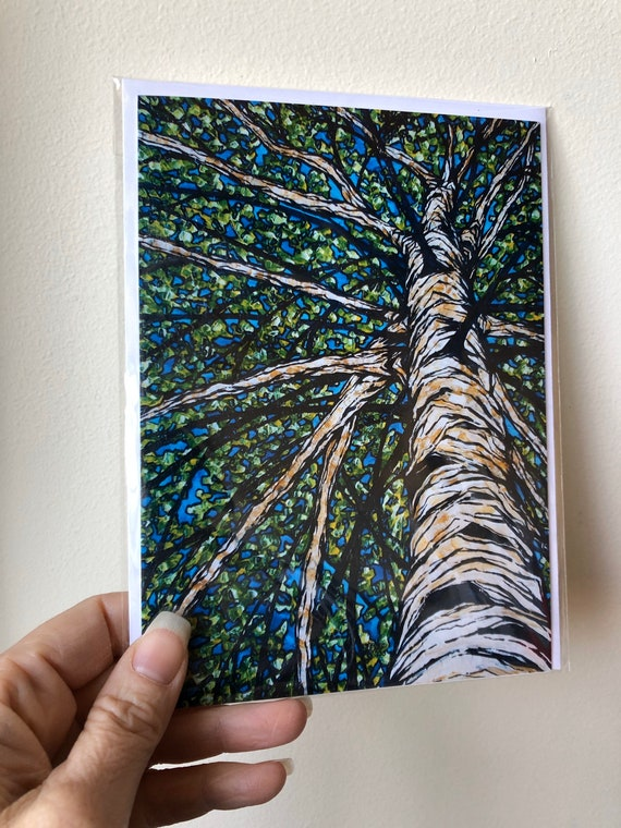 """5x7"""" Spring Birch Tree greeting card featuring artwork by Tracy Levesque"""