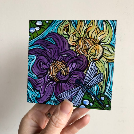 "4x4"" Purple and Yellow Lotus Waterlilies with Dragonfly original acrylic painting by Tracy Levesque"