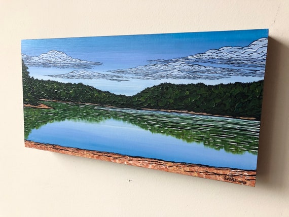 """8x16"""" Panoramic View of Walden Pond in Spring original acrylic painting by Tracy Levesque"""