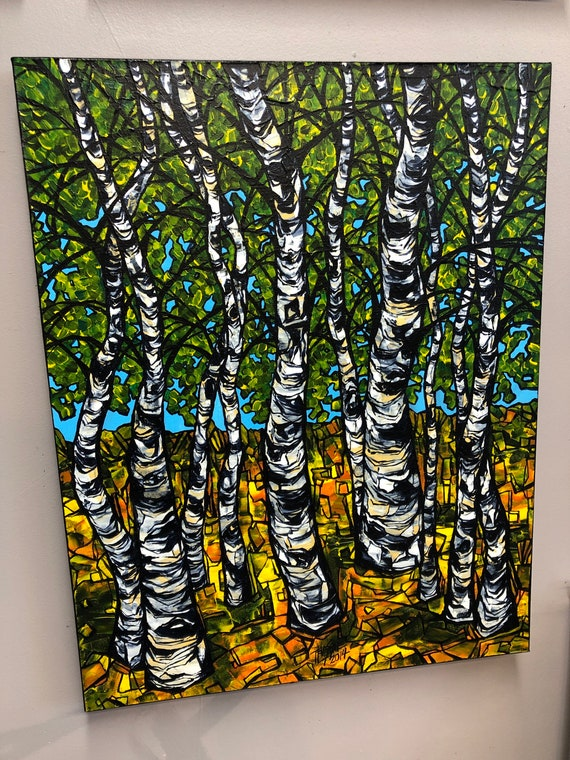 """Birches of Spring 22x28"""" original acrylic painting on canvas by Tracy Levesque"""
