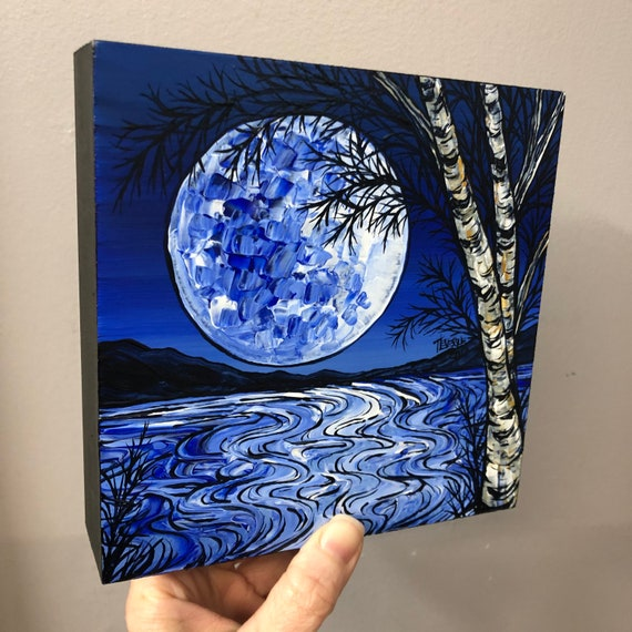 """6x6"""" Blue Moon Mysterious Night original painting by Tracy Levesque"""