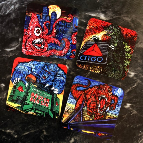 Monsters Attack Boston! Coaster Set of 4 Featuring Artwork By Tracy Levesque