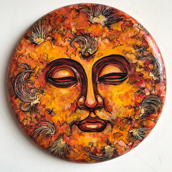 "Beyond Samsara Sun 16"" Round Acrylic Painting by Tracy Lévesque"