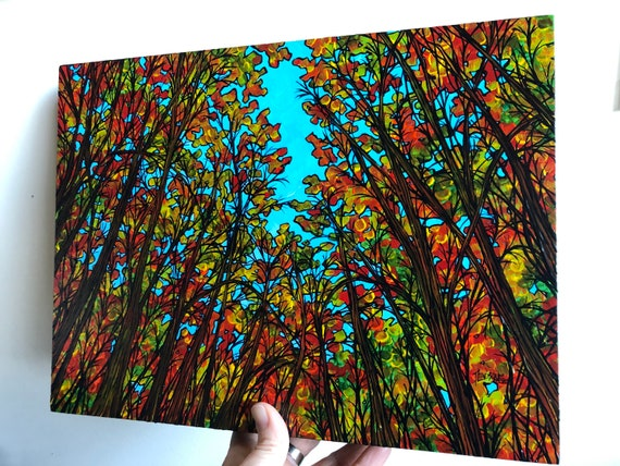 "9x12"" Explosion of Fall Color New England Autumn Trees original acrylic painting by Tracy Levesque"