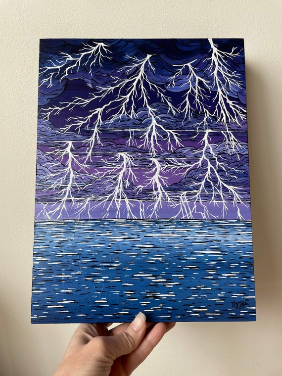 """9x12"""" The Perfect Storm Lightning Phenomena original acrylic painting by Tracy Levesque"""