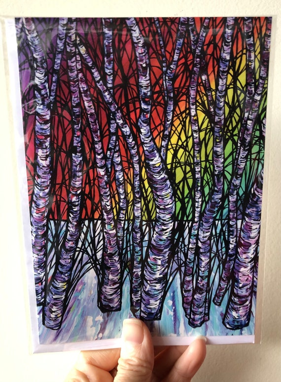"5x7"" Rainbow Birch Tree greeting card by Tracy Levesque"