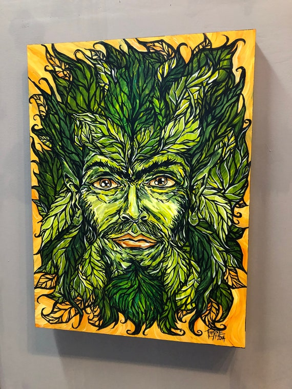 """Green Man 18x24"""" original acrylic painting by Tracy Levesque"""