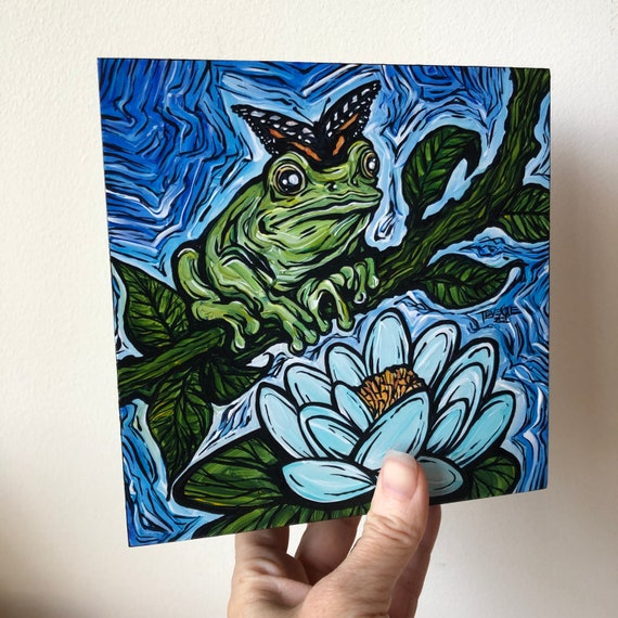 """6x6"""" Enlightened Frog with Lotus and Butterfly original acrylic painting by Tracy Levesque"""