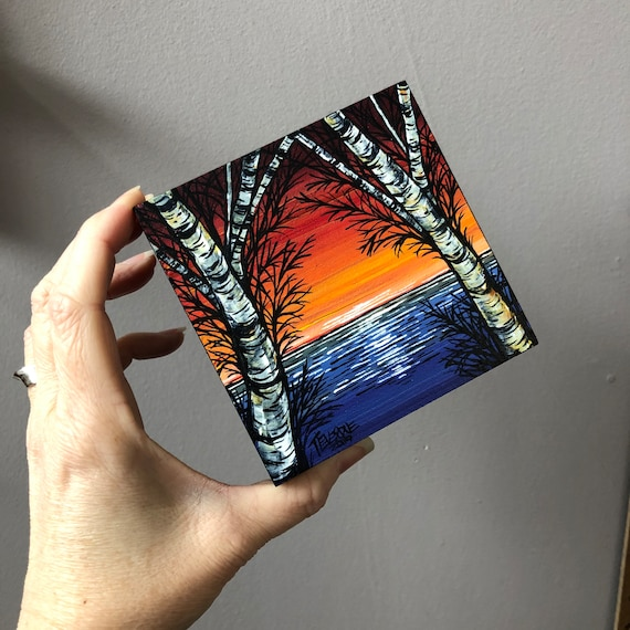 """Birch Tree Sunset 4x4"""" original acrylic painting by Tracy Levesque"""