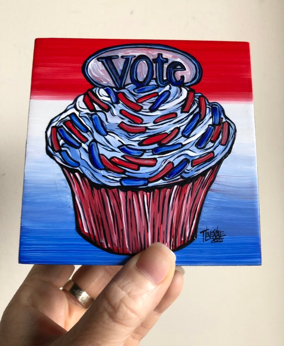 "4x4"" Vote Cupcake original acrylic painting by Tracy Levesque"