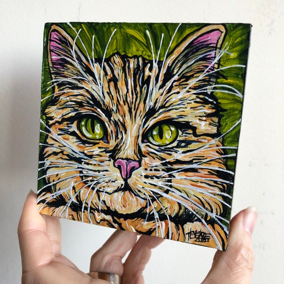"4x4"" Tiger Tabby Cat original acrylic painting by Tracy Levesque"