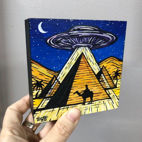 "4x4"" UFO Pyramids Giza Ancient Aliens Flying Saucer Egypt mini painting by Tracy Levesque"