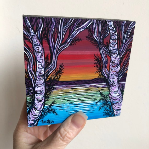 "4x4"" Rainbow Dawn Birch Tree original acrylic painting by Tracy Levesque"