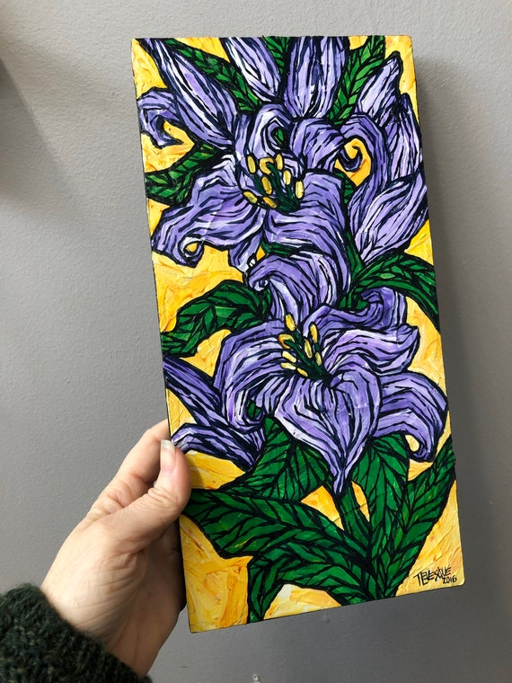 """6x12"""" Purple Lilies on Yellow original acrylic painting by Tracy Levesque"""