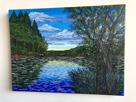 "18x24"" Summertime at Walden Pond original acrylic painting by Tracy Levesque"