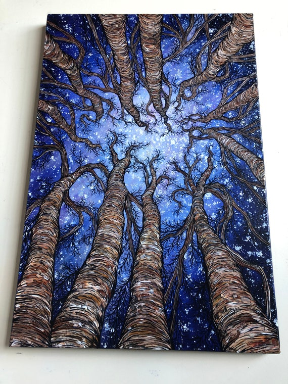 "24x36"" Forest Full of Stars breathtaking tree painting looking up at the trees - original acrylic painting by Tracy Levesque"