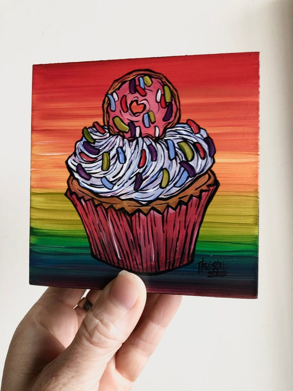 "4x4"" Donut Cupcake Whimsical Happy Birthday original acrylic painting by Tracy Levesque"