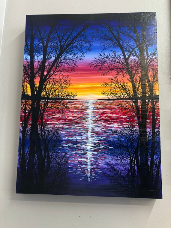 """Chromatic Sunset, 18x24"""" Original Acrylic Painting by Tracy Levesque"""