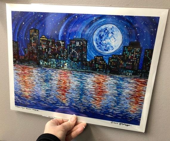 Starry Night Boston Harbor Metallic Photographic Art Print by Tracy Levesque
