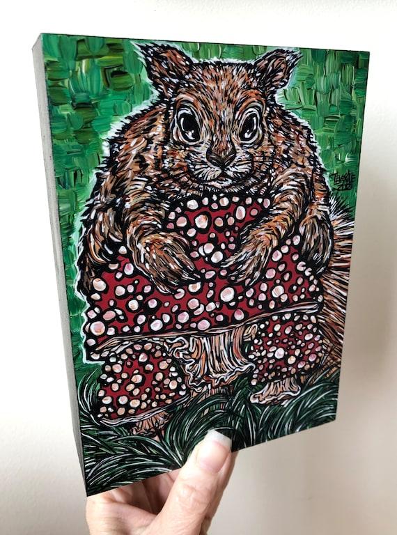 "5x7"" Shroom Squirrel Amanita Muscaria  Mushroom original acrylic painting by Tracy Levesque"