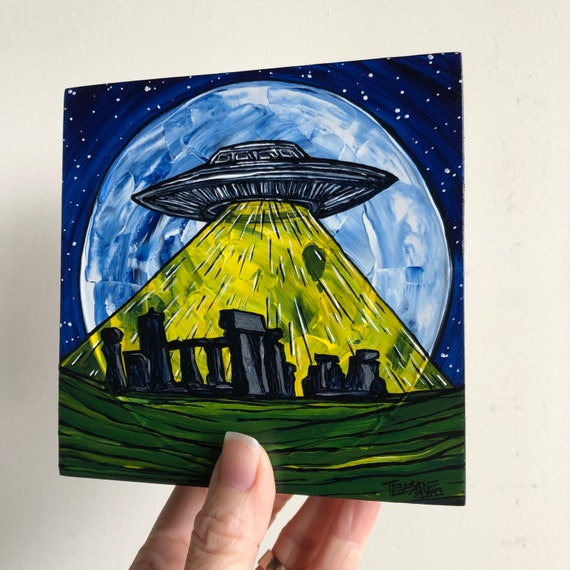 "5x5"" Stonehenge UFO Alien Full Moon Flying Saucer original acrylic painting by Tracy Levesque"