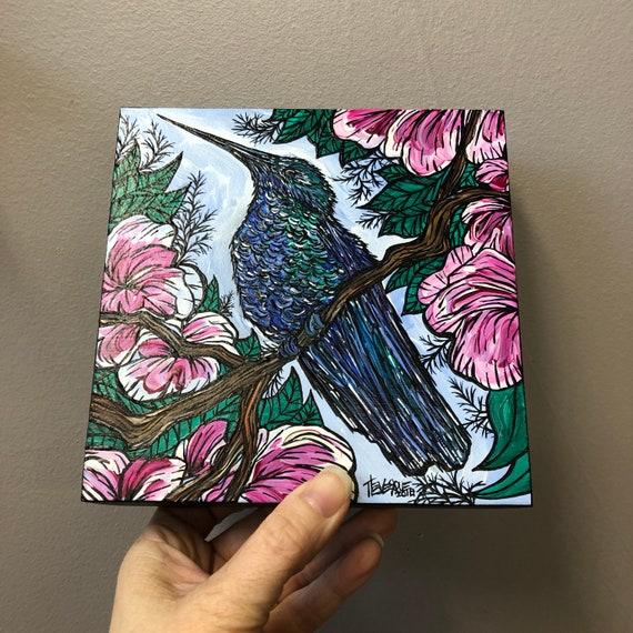 "Proud Hummingbird 6x6"" original acrylic painting by Tracy Levesque"