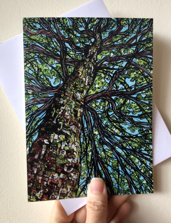 """5x7"""" Wise Woman of the Forest beautiful tree greeting card by Tracy Levesque"""