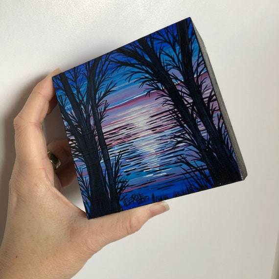"4x4"" Blue and Purple Sunset JB7 original acrylic mini painting by Tracy Levesque"